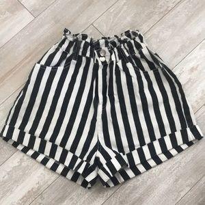 black+white striped shorts
